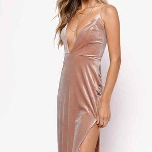 Tobi Dresses - TOBI Velvet Got it Good Plunging Maxi S